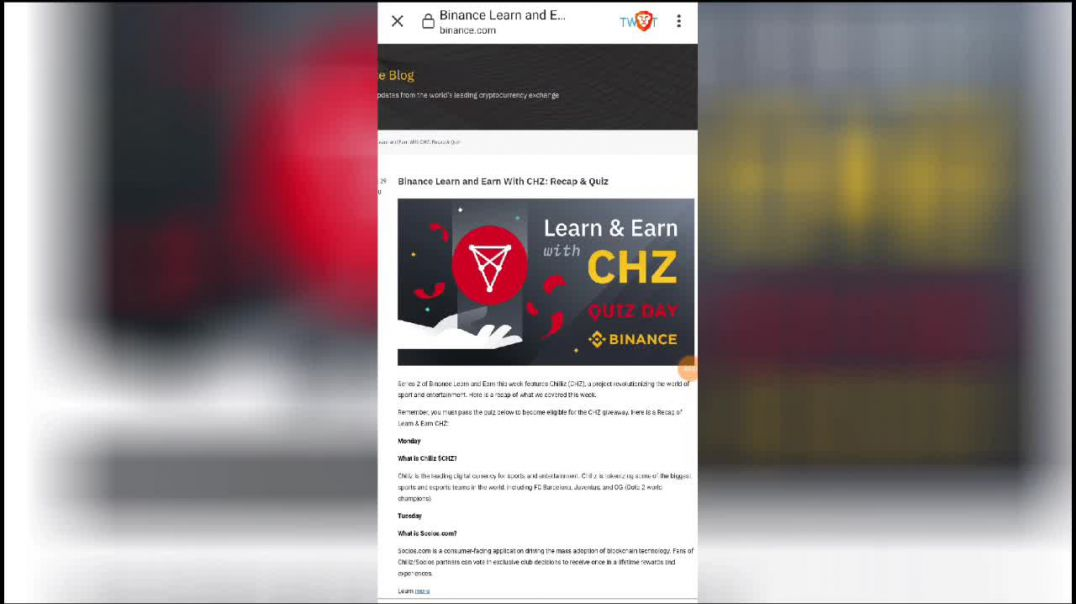 Binance Airdrop earn free $40 (2000 pesos) of chiliiz(CHZ)